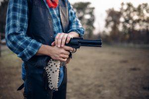 cowboy preparing to shoot at customer target types