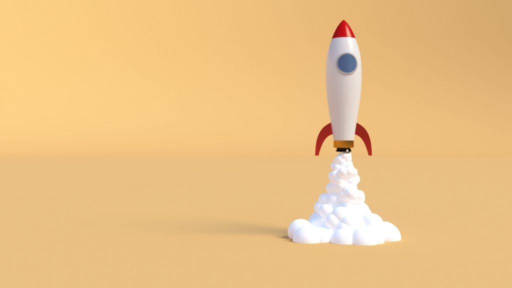 toy rocket blasting off